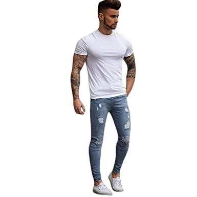 f30e472f49a1 Men s Stretchy Ripped Skinny Biker Jeans Destroyed Taped Slim Fit Denim  Pants (Light Blue