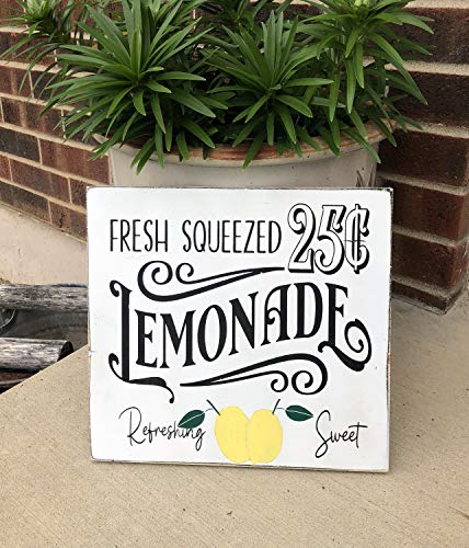 MosesMat41 Sale Fresh Squeezed Lemonade Sign Farmhouse Lemonade Sign Fun Summer Wooden Signs Country Farmhouse Decor Lemon Decor Lemonade 25