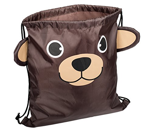 Cute Bear Head 13.5 x 15 inch Fabric Novelty Drawstring Shoulder (Bear Necessities Accessories)