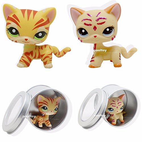 2pcs Littlest Pet Shop RARE Yellow Orange Cat Green Eyes LPS #1451 #2118 (Littlest Pet Shop 1451)