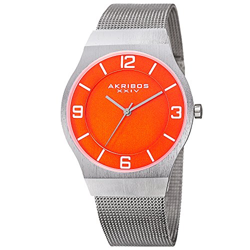 Akribos XXIV Omni Mens Casual Watch - Brushed Center Dial - Japanese Quartz - Stainless Steel Mesh Strap - Orange Silver