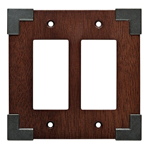 - Brainerd Rowland 2-Gang Charcoal Ebony & Soft Iron Decorator Rocker Composite Wood Wall Plate