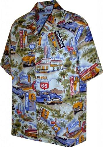 (Hawaiian Aloha Shirt Scenic Route 66 Blue (Made in Hawaii))