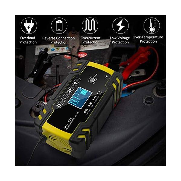 51fnquoBm6L Yomao Ladegerät Autobatterie 8A 12V/24V KFZ Batterieladegerät Vollautomatisches Intelligentes Erhaltungsladegerät mit…
