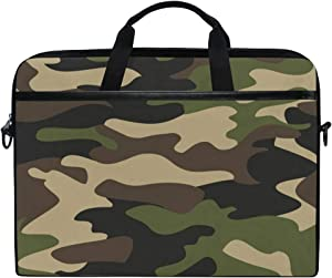 ALAZA Camouflage Pattern Background Laptop Case Bag Sleeve Portable Crossbody Messenger Briefcase Convertible w/Strap Pocket for MacBook Air Pro Surface Dell ASUS hp Lenovo 14-15.4 inch