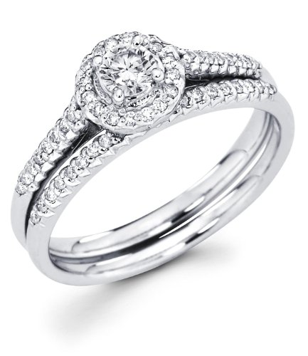 Size - 6.5 - 14k White Gold Cirque Halo Solitaire Round Diamond Bridal Engagement Ring Set w/ Matching Micro Pave Set Wedding Band (.46 cttw, 1/5 ct Center, G-H Color, I1 Clarity) -