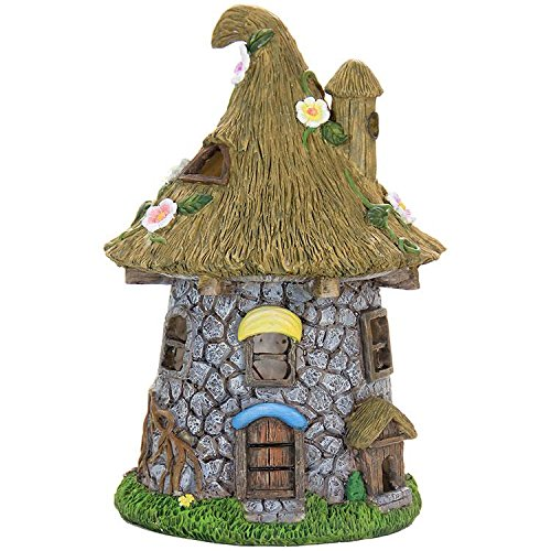 Miniature Fairy Garden Solar Stone Cottage with Pointy Straw Roof