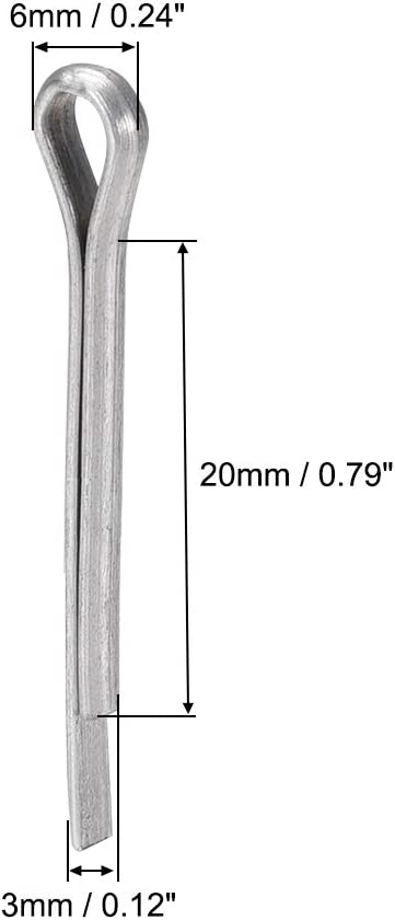 1mm x 10mm uxcell Split Cotter Pin 3//64 inch x 25//64 inch Carbon Steel 2-Prongs Silver Tone 150Pcs