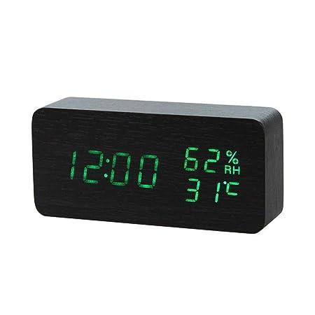 Ybqy Relojes de Alarma Reloj de Alarma de Madera LED Despertador ...