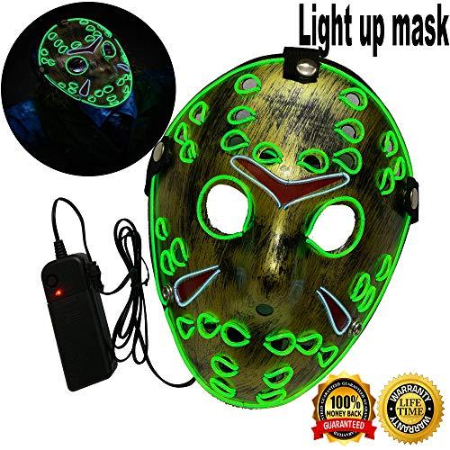 Halloween Mask Neon Mask led mask Scary Mask Light up Mask Cosplay Mask Lights up for Halloween Festival Party (Halloween mask Limegreen&White)