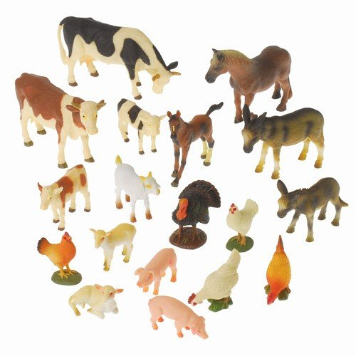 Constructive Playthings TNZ-7 Block Play Farm Animals - Realistic Set of 18 Pieces, Grade: Kindergarten to 3, Age: 8