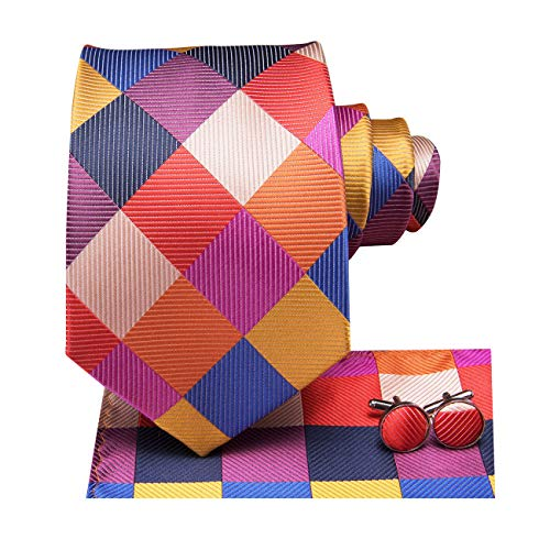 (Dubulle Mens Plaid Red and Yellow Necktie Hankerchief Set Woven Silk Tie)