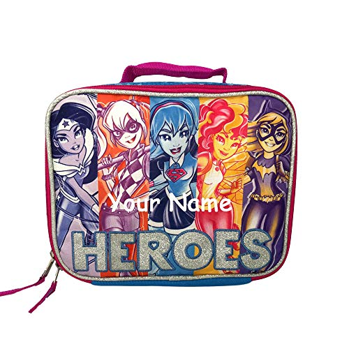 DC Super Hero Girls Personalized Sparkle Back to School Insulated Lunchbox Lunch Bag with Custom Name ()