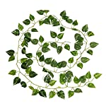 87 Feet-12 Pack Artificial Ivy Leaf Garland Plants Vine for Hanging Wedding Garland Fake Foliage Flowers Home Kitchen Garden Office Wedding Wall Decor