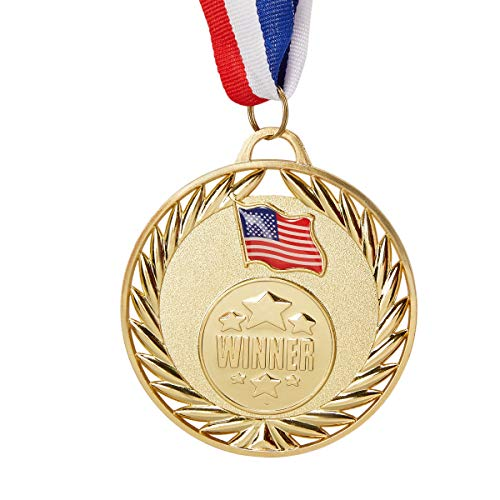 Medal Ribbon - Juvale 6-Pack Bulk Olympic Style Gold Winner Award Medals with Ribbons for Sports, Competitions, Spelling Bees, Party Favors 2.7 Inches Diameter, 15 Inches Ribbon Length