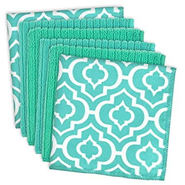 DII Microfiber Multi Purpose Cloths for Dishes, Stainless Steel and Glass for Cleaning, Drying and Polishing, 12x12  (Set of 6) - Teal Lattice