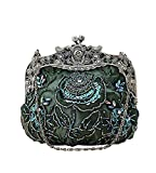 MissFox Women's Vintage Bead Flowers Pattern Handbag Chain Clutches Evening Bag