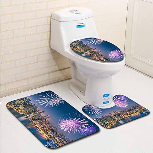 MTSJTliangwan 3-Piece Bathroom Set, Bathroom Rug + Contour pad + lid Toilet seat, Aerial View of The Singapore Skyline and Marina Bay Comfortable Flannel Rug