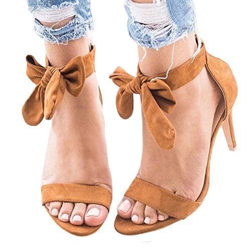 Huiyuzhi Womens High Heel Sandals Ankle Strap Stiletto Lace-up Sandals (Wrap Strappy Ankle)