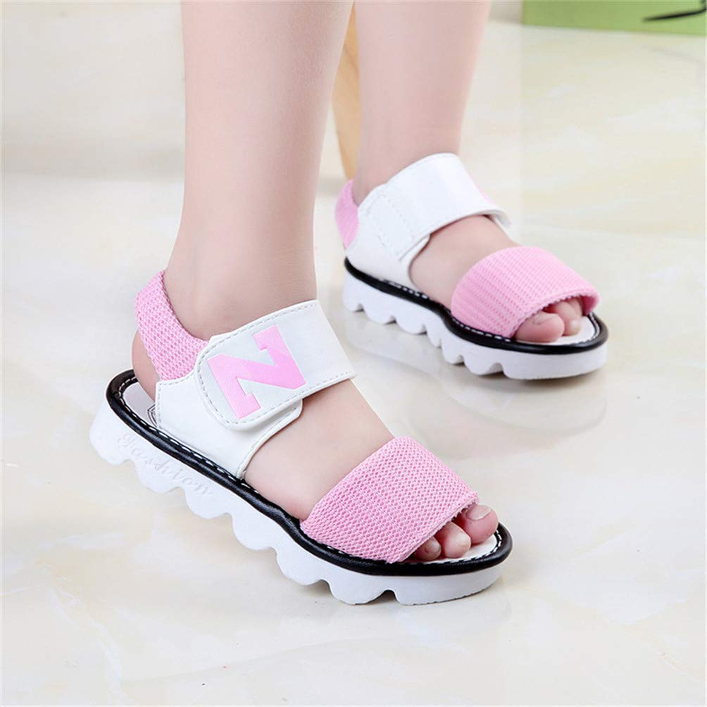 FS65a1528zxc Fashion Summer New Letter Girls Sandals Baby Kids Princess Shoes,Pink,13