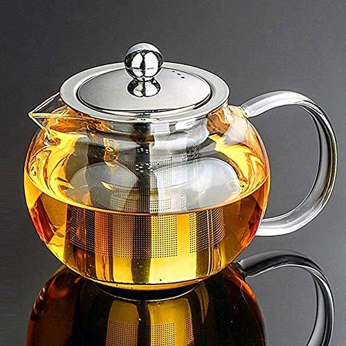 Tetera de vidrio transparente de 950 ml con infusor de acero inoxidable resistente al calor, infusor de tetera de vidrio 950 ml con tapa de acero inoxidable 304 de borosilicato perfecto para té y café