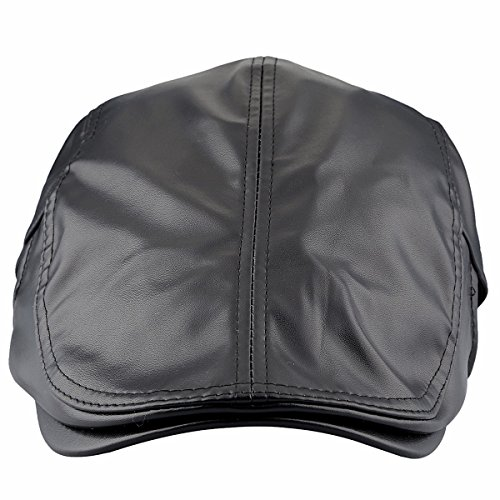 squaregarden Flat Caps for Men, Beret Leather Hat Cabbie Gatsby Newsboy Cap Ivy Irish Hats, Black