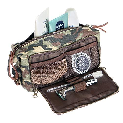 DOPP Kit Mens Toiletry Travel Bag YKK Zipper Canvas & Leather (Medium, Woodland Camo) -