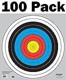 Longbow Targets 60 cm / 24 in Bullseye Archery (10 Ring) and Gun Targets (100 Pack)