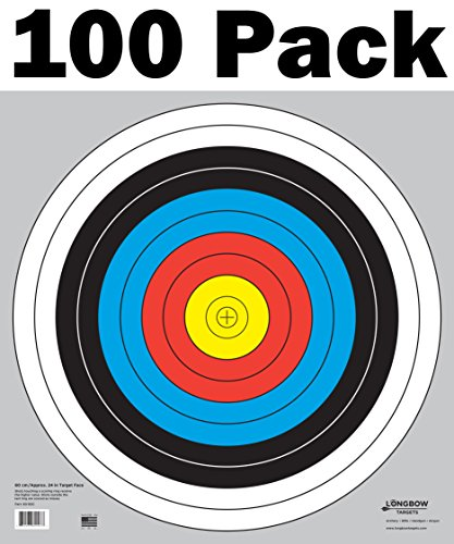 Longbow Targets 60 cm / 24 in Bullseye Archery (10 Ring) and Gun Targets (100 Pack)