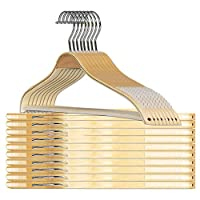 Kihamp Super Durable Natural Wood Hangers(16pcs) with Extra Smooth Finish and Human Shoulder Design,Heavy Duty Hangers with Non Slip Stripes and Bar,Perfect for Pants,Coat,Underwear and Shirt