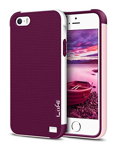 LoHi iPhone 5s / 5 / Se Case, Wine Red [Extra Front Raised Lip] Hybrid Impact Shockproof Rugged Soft TPU Hard PC Bumper Cover