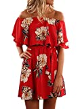Kbook Women's Cute Floral Off Shoulder Ruffle Sleeve Boho Vacation Mini Dress with Belt Red