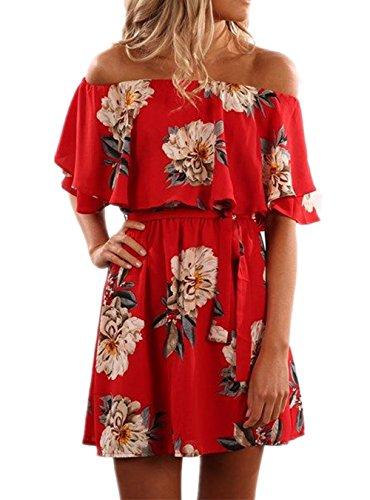 Kbook Womens Off Shoulder Flare Sleeve Vintage Floral Print Boho Mini Dress with Belt, Large, Red