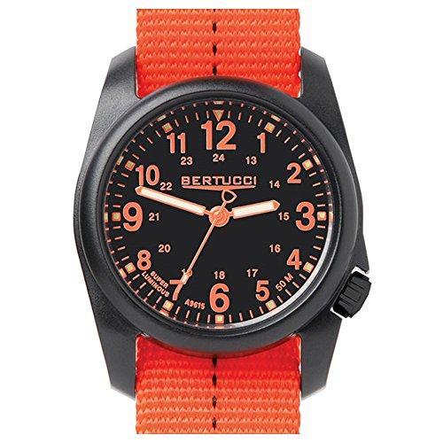 Bertucci 11042 DX3 Field Resin Dash-Striped Drab Orange Nylon Strap Black Dial Watch
