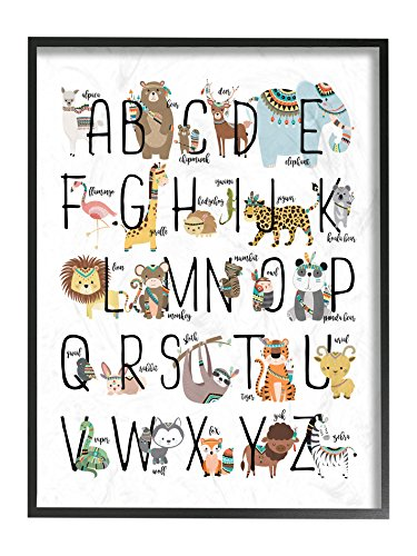 The Kids Room by Stupell The Boho Animal ABCs Oversized Framed Giclee Texturized Art Prints ()