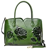 PIJUSHI Genuine Leather Top Handle Bags Floral Satchel Handbag Shoulder Purses 6913 (Green)