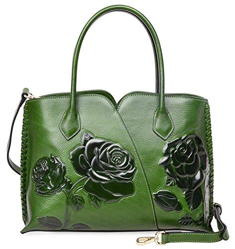PIJUSHI Genuine Leather Top Handle Bags Floral Satchel Handbag Shoulder Purses 6913 (Green) by PIJUSHI