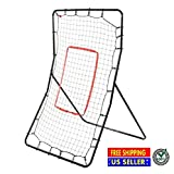 Youth Pitching Baseball Return Net Fielding Training 3 Way Softball Sport Rebound Rebounder Throwing Practice Station Trainer Pitchback Target Products Black New Steel Frame and Nylon Net