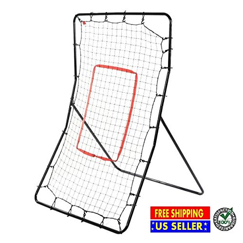 Youth Pitching Baseball Return Net Fielding Training 3 Way Softball Sport Rebound Rebounder Throwing Practice Station Trainer Pitchback Target Products Black New Steel Frame and Nylon Net by Produit Royal