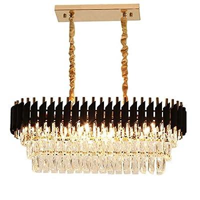 Rectangular Modern K9 Crystal Chandeliers Lighting - FINXIN FXCS02 Pendant Ceiling Lights Rectangle Chandelier Lamp Fixture 8-Lights for Dining Room Kitchen