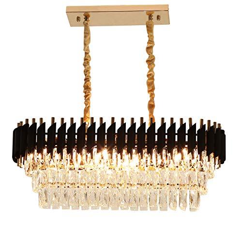 Rectangular Modern K9 Crystal Chandeliers Lighting – FINXIN FXCS02 Pendant Ceiling Lights Rectangle Chandelier Lamp Fixture 8-Lights for Dining Room Kitchen (8-Light)