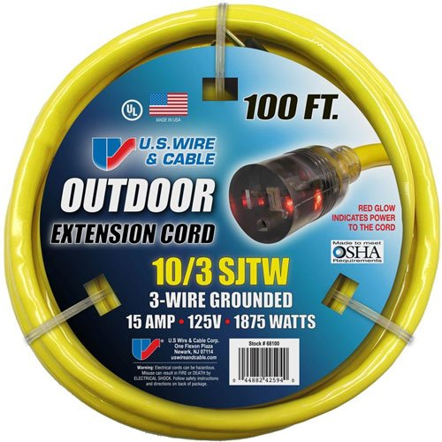 US Wire 68100 Outdoor Vinyl LIGHTED Yellow Cord, Lighted Plug, 300V, SJTW, UL, cUL, 10/3 Gauge 100' Length by US Wire and Cable