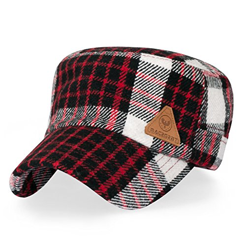 ililily Women Checkered Military Army Hat Wool-Like Adjustable Strap Cadet Cap, Red Check