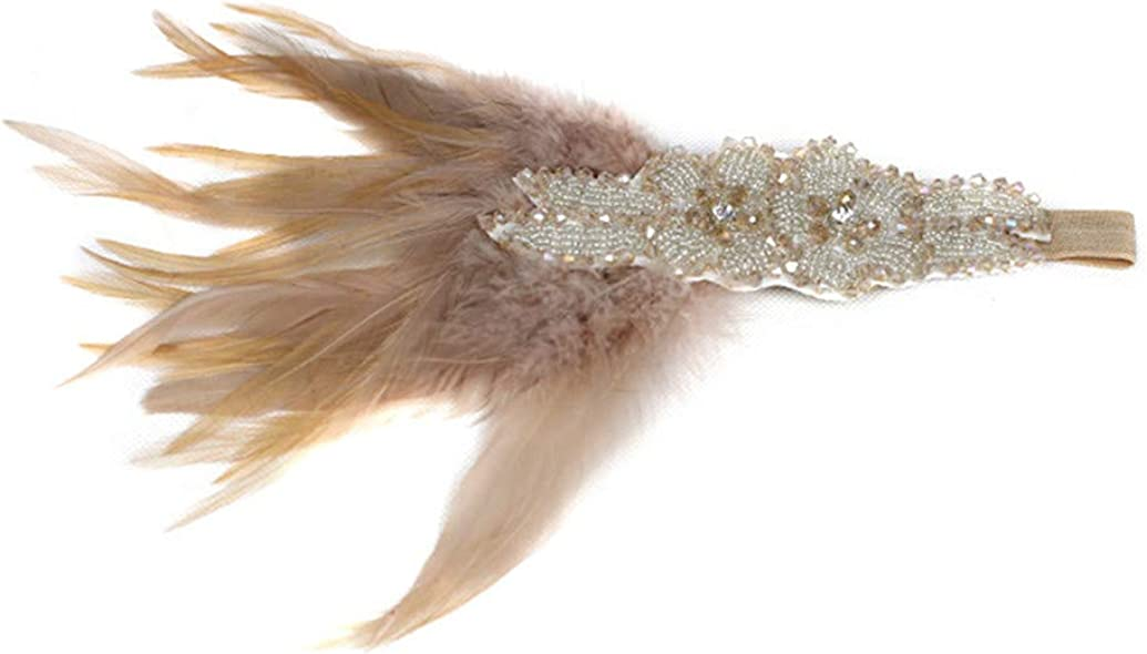 Art Deco 1920s Flapper Feather Headpiece Roaring 20s Great Gatsby Headband for Women