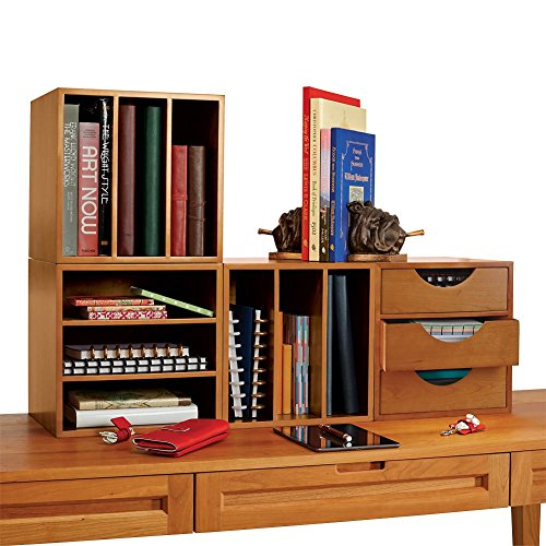 (Levenger Cubi Desk Bookcase with 3 Drawers, Stackable Office Organizer, 13