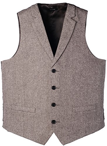 Ruth&Boaz 2Pockets 4Buttons Wool Herringbone/Tweed Tailored Collar Suit Vest