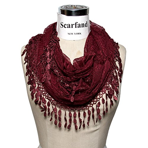 Burgandy Scarf - Scarfand's Delicate Lace Infinity Scarf with Teardrop Fringes (Burgundy)