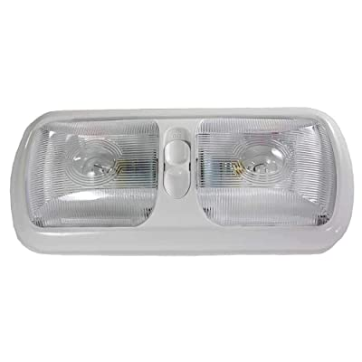 Kaper II L09-0029-CL RV Double Interior Dome Light with Incandescent 1141 Bulbs, White HOUSING and Clear POLCARBONATE Lens with 3 Way Switch: Automotive