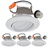 LEDwholesalers 4'' Recessed Dimmable 10W LED Adjustable Head Downlight with White Trim, ETL & Energy Star (4-Pack), Warm White 3000K, 2222WWx4