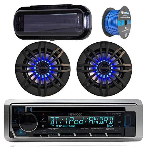 (Kenwood Bluetooth Radio CD Receiver In-Dash Marine Boat Audio Bundle with Pair of Enrock 6.5